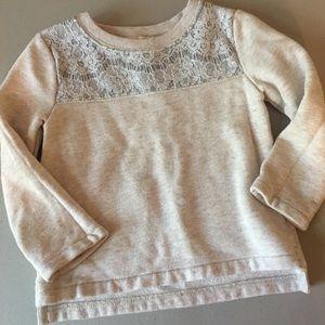 Girls Crewcuts 2t sweatshirt oatmeal with lace